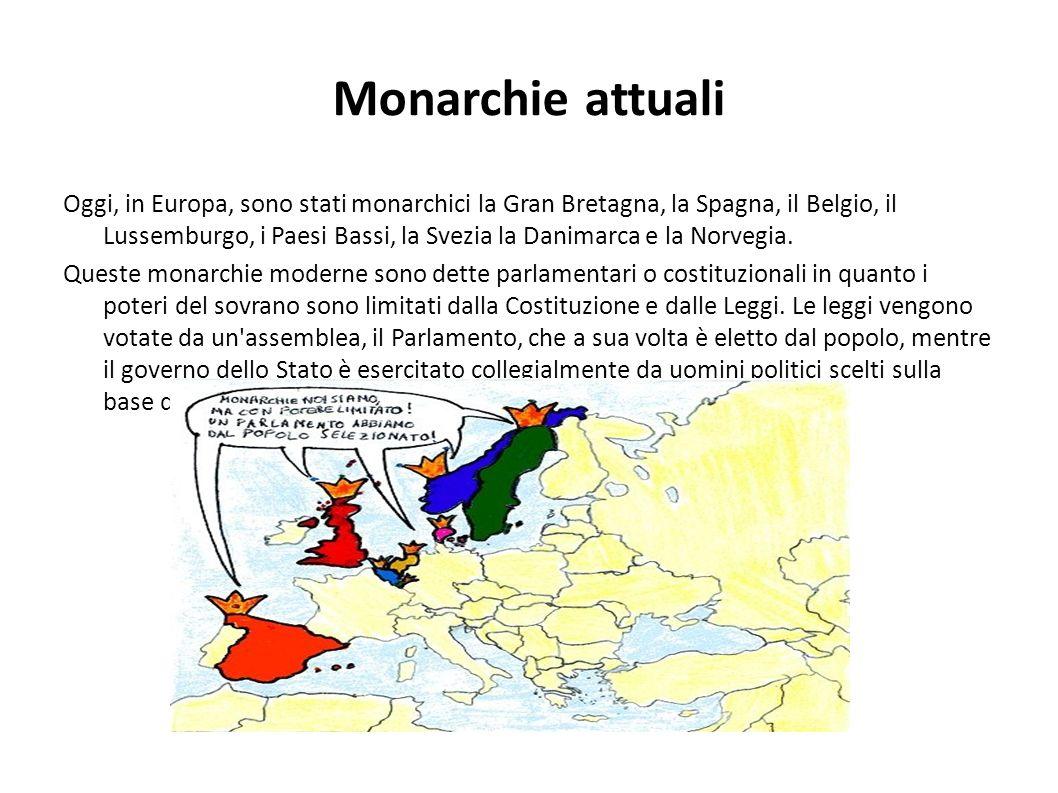 Monarchie attuali Oggi, in Europa, sono stati monarchici la Gran Bretagna, la Spagna, il Belgio, il Lussemburgo, i Paesi Bassi, la Svezia la Danimarca