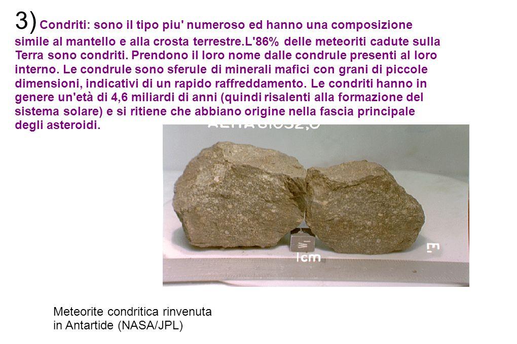 3) Condriti: sono il tipo piu' numeroso ed hanno una composizione simile al mantello e alla crosta terrestre.L'86% delle meteoriti cadute sulla Terra