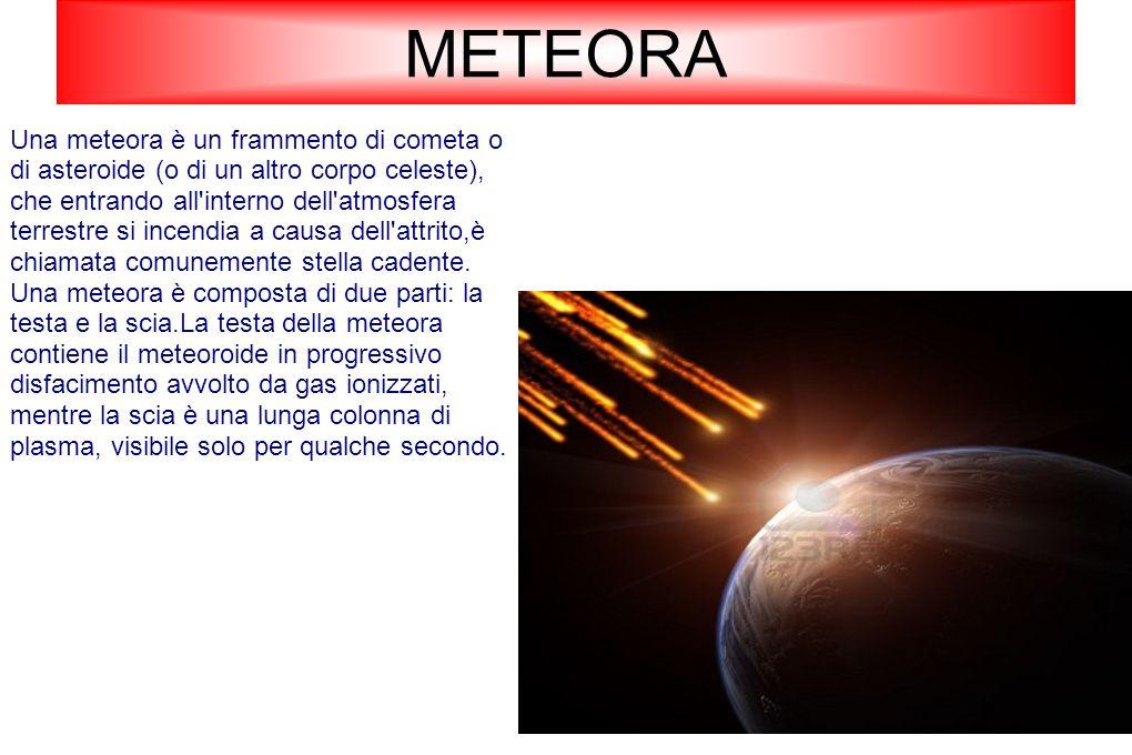 METEORA Una meteora è un frammento di cometa o di asteroide (o di un altro corpo celeste), che entrando all'interno dell'atmosfera terrestre si incend