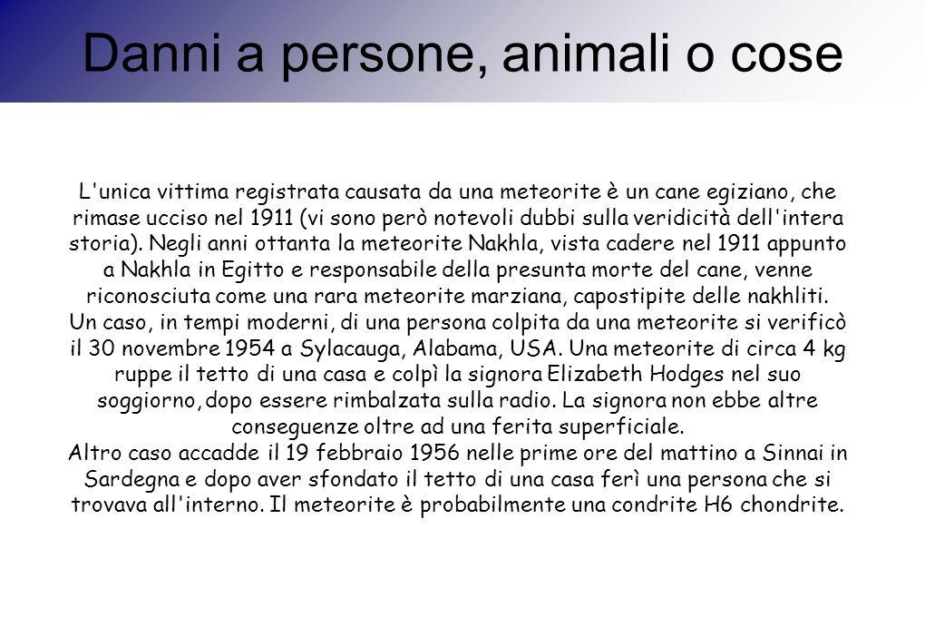Danni a persone, animali o cose L'unica vittima registrata causata da una meteorite è un cane egiziano, che rimase ucciso nel 1911 (vi sono però notev