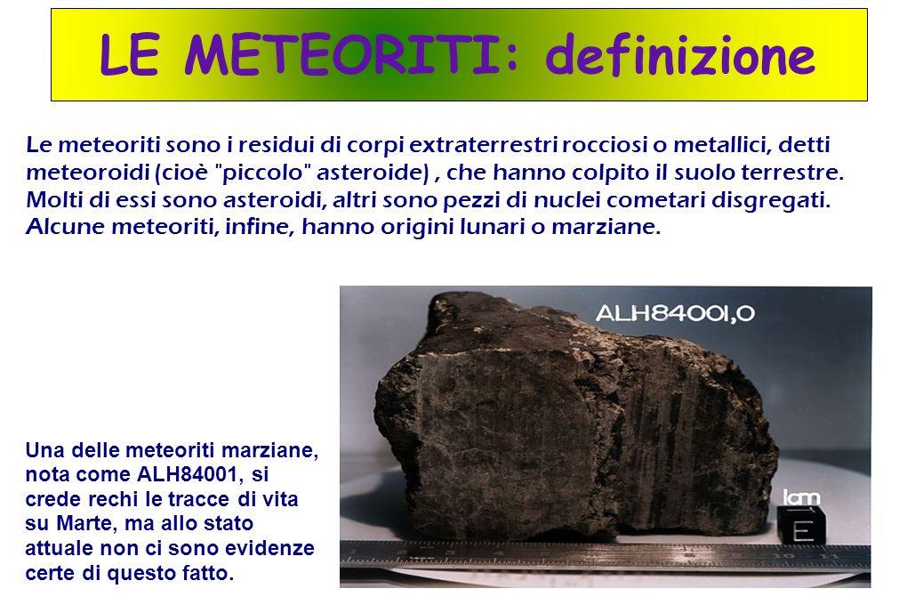 LE METEORITI: definizione Le meteoriti sono i residui di corpi extraterrestri rocciosi o metallici, detti meteoroidi (cioè