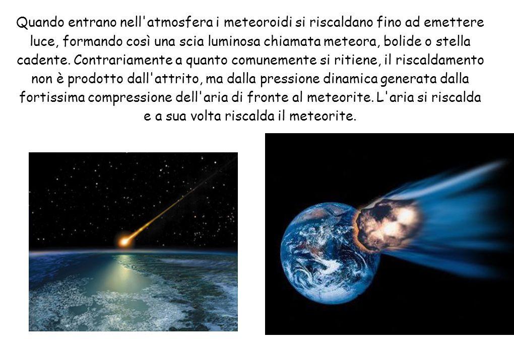 Quando entrano nell'atmosfera i meteoroidi si riscaldano fino ad emettere luce, formando così una scia luminosa chiamata meteora, bolide o stella cade