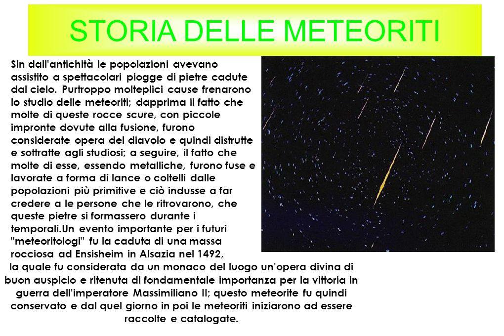 STORIA DELLE METEORITI Sin dall'antichità le popolazioni avevano assistito a spettacolari piogge di pietre cadute dal cielo. Purtroppo molteplici caus