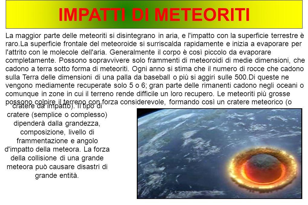 IMPATTI DI METEORITI La maggior parte delle meteoriti si disintegrano in aria, e l'impatto con la superficie terrestre è raro.La superficie frontale d