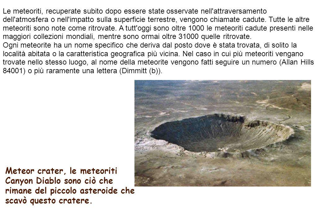 Meteor crater, le meteoriti Canyon Diablo sono ciò che rimane del piccolo asteroide che scavò questo cratere. Le meteoriti, recuperate subito dopo ess