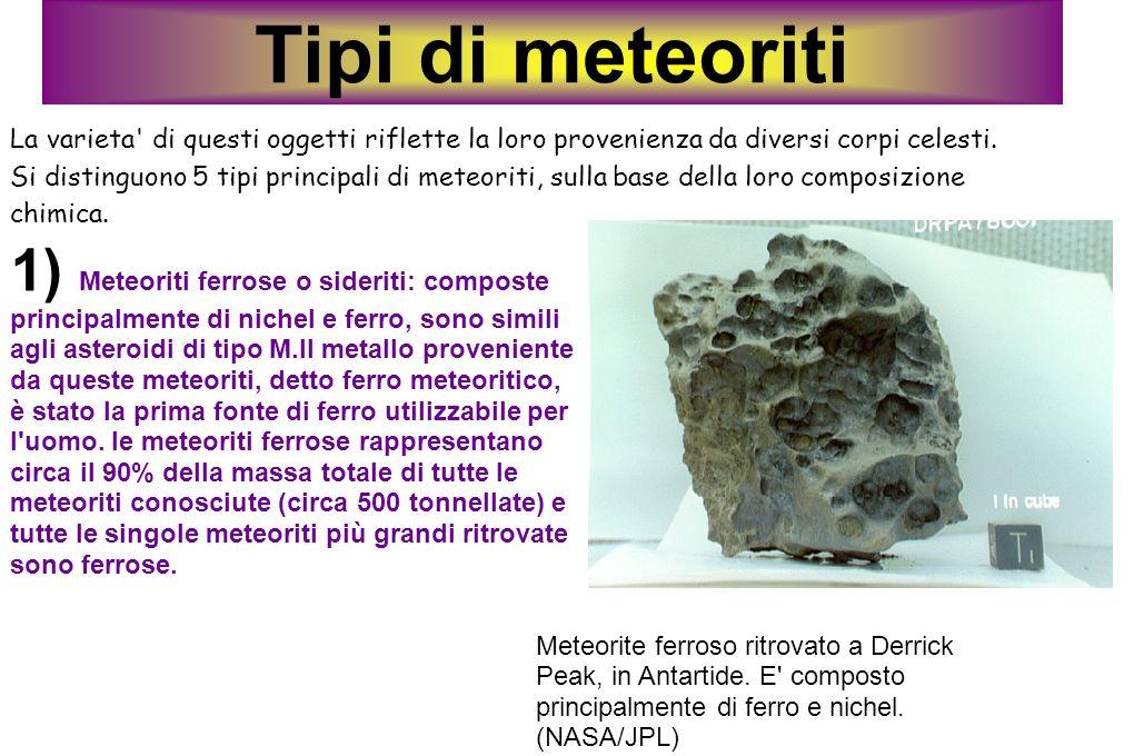 Tipi di meteoriti La varieta' di questi oggetti riflette la loro provenienza da diversi corpi celesti. Si distinguono 5 tipi principali di meteoriti,