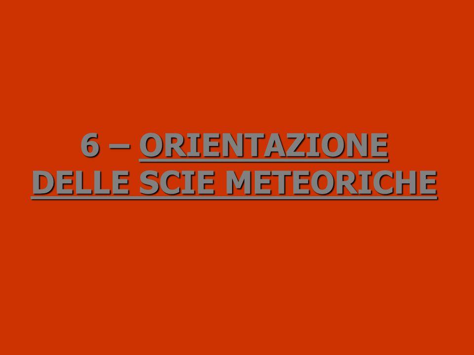 6 –ORIENTAZIONE DELLE SCIE METEORICHE 6 – ORIENTAZIONE DELLE SCIE METEORICHE