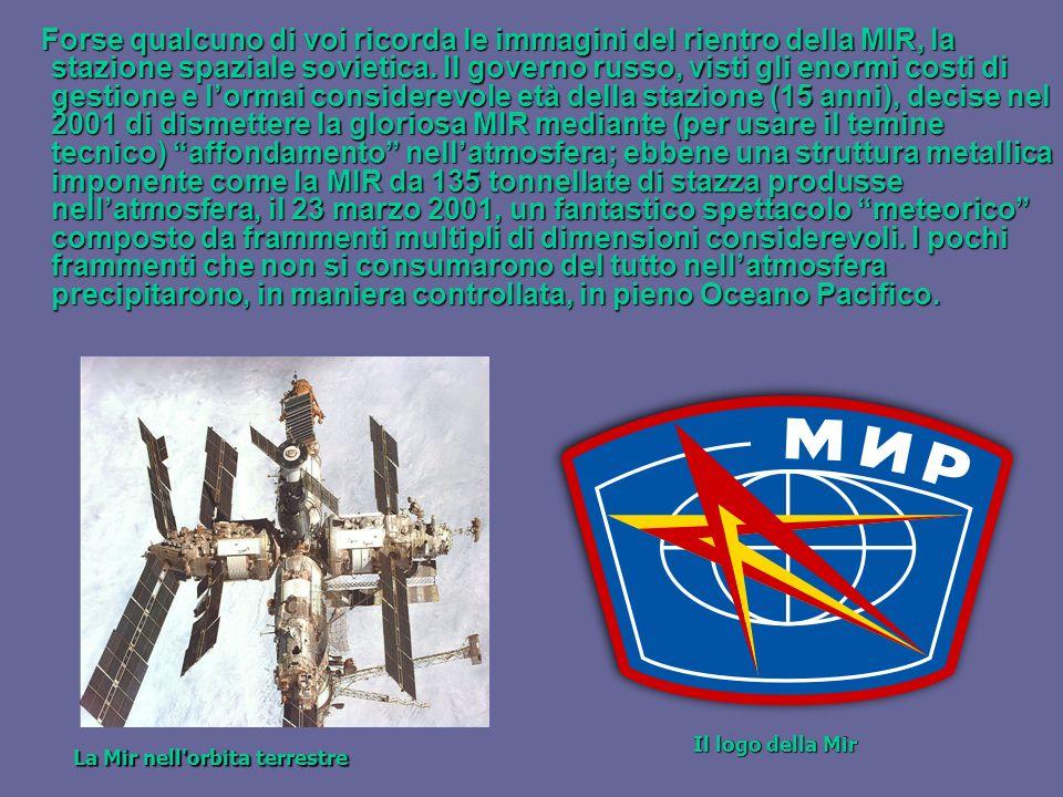 Forse qualcuno di voi ricorda le immagini del rientro della MIR, la stazione spaziale sovietica.