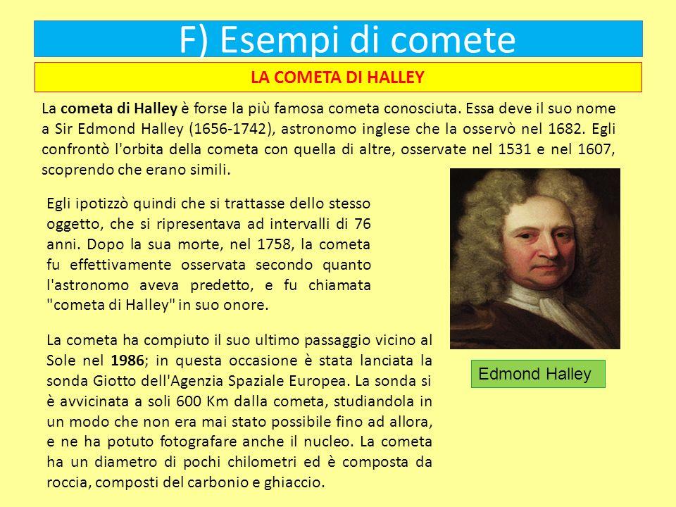 F) Esempi di comete La cometa di Halley è forse la più famosa cometa conosciuta. Essa deve il suo nome a Sir Edmond Halley (1656-1742), astronomo ingl