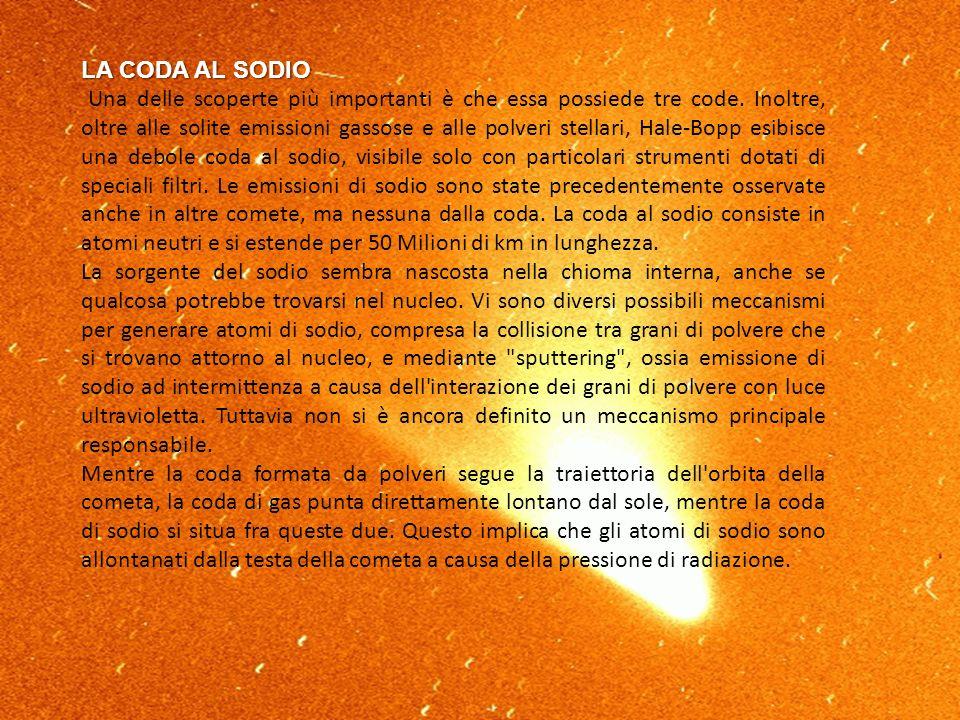 LA CODA AL SODIO Una delle scoperte più importanti è che essa possiede tre code. Inoltre, oltre alle solite emissioni gassose e alle polveri stellari,