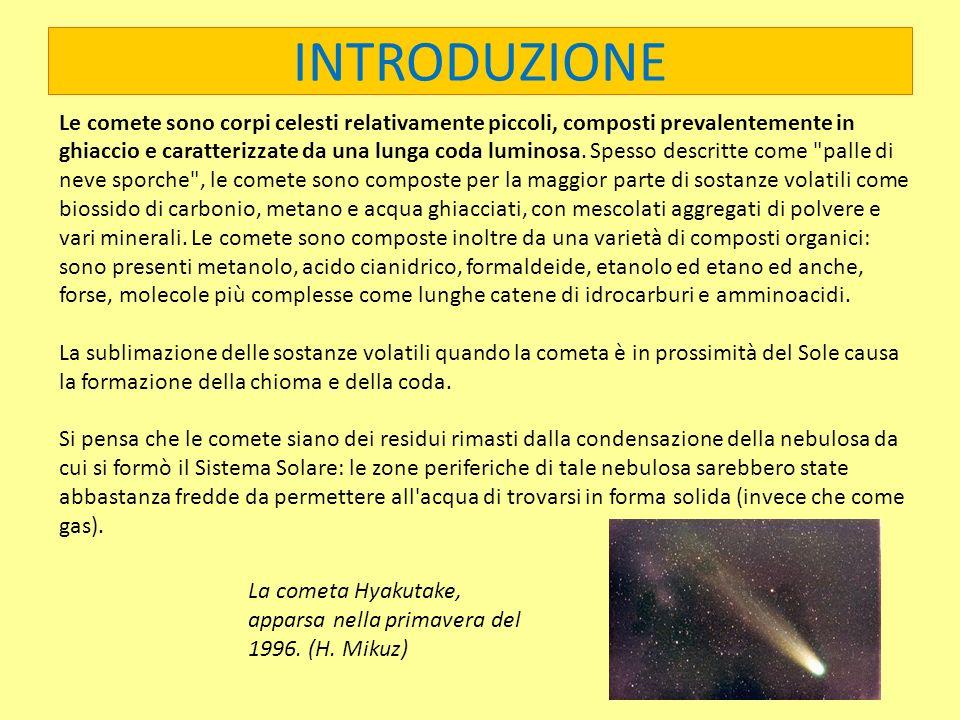 INTRODUZIONE Le comete sono corpi celesti relativamente piccoli, composti prevalentemente in ghiaccio e caratterizzate da una lunga coda luminosa. Spe