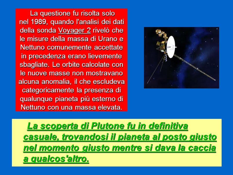 La questione fu risolta solo nel 1989, quando l'analisi dei dati della sonda Voyager 2 rivelò che le misure della massa di Urano e Nettuno comunemente