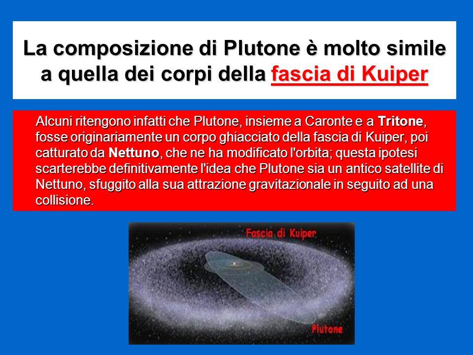La composizione di Plutone è molto simile a quella dei corpi della fascia di Kuiper Alcuni ritengono infatti che Plutone, insieme a Caronte e a Triton