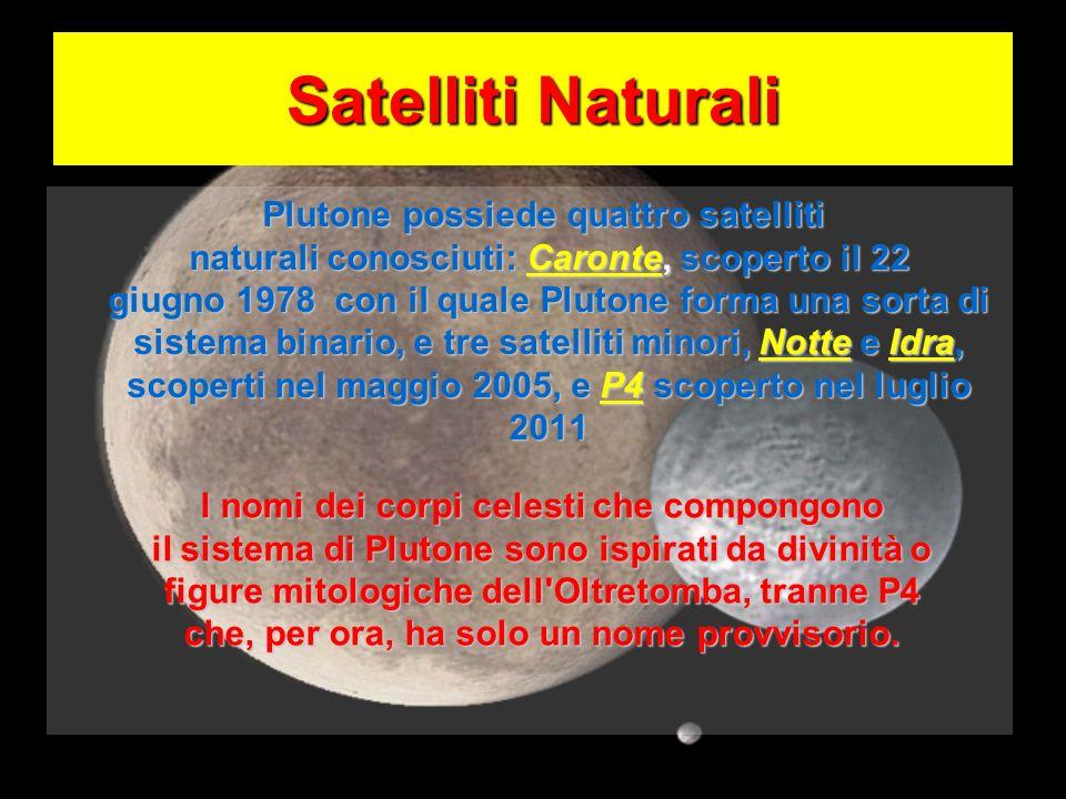 Satelliti Naturali Plutone possiede quattro satelliti naturali conosciuti: Caronte, scoperto il 22 giugno 1978 con il quale Plutone forma una sorta di