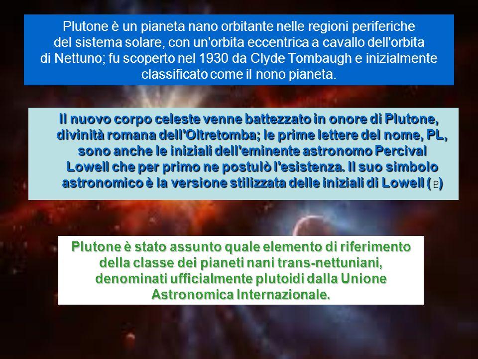 Plutone è un pianeta nano orbitante nelle regioni periferiche del sistema solare, con un'orbita eccentrica a cavallo dell'orbita di Nettuno; fu scoper