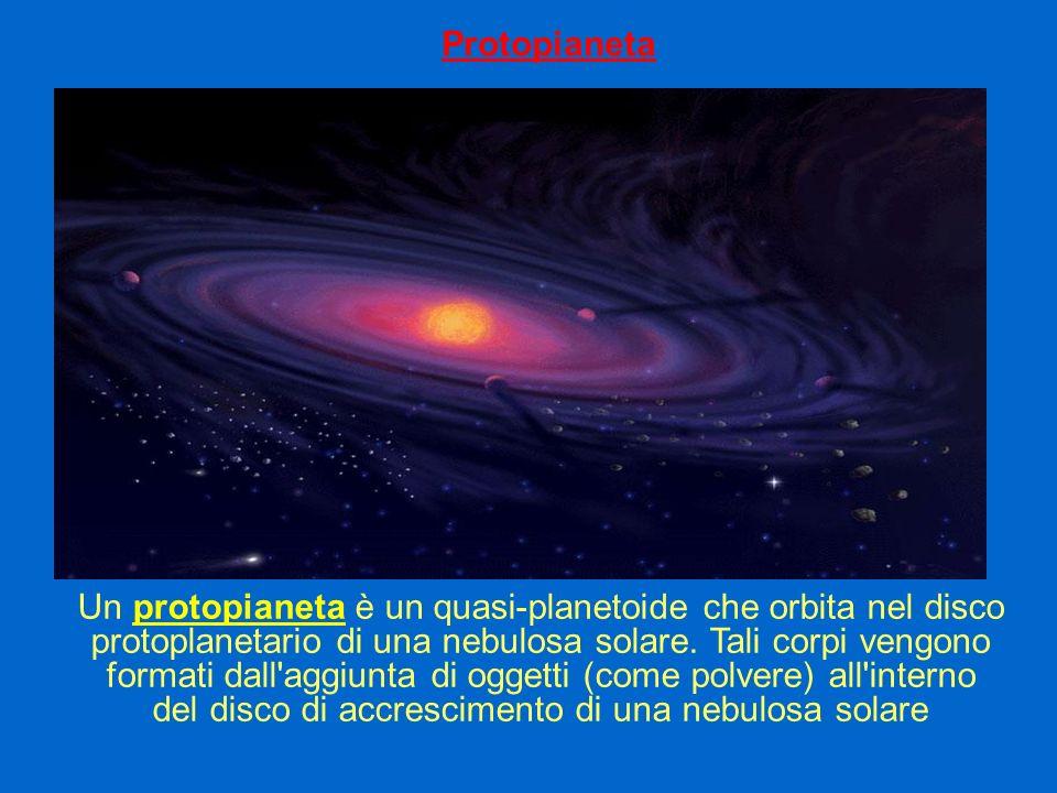 Protopianeta Un protopianeta è un quasi-planetoide che orbita nel disco protoplanetario di una nebulosa solare. Tali corpi vengono formati dall'aggiun