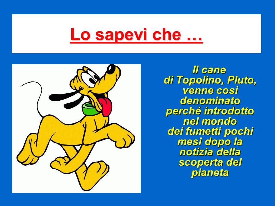 Lo sapevi che … Il cane di Topolino, Pluto, venne così denominato perché introdotto nel mondo dei fumetti pochi mesi dopo la notizia della scoperta de