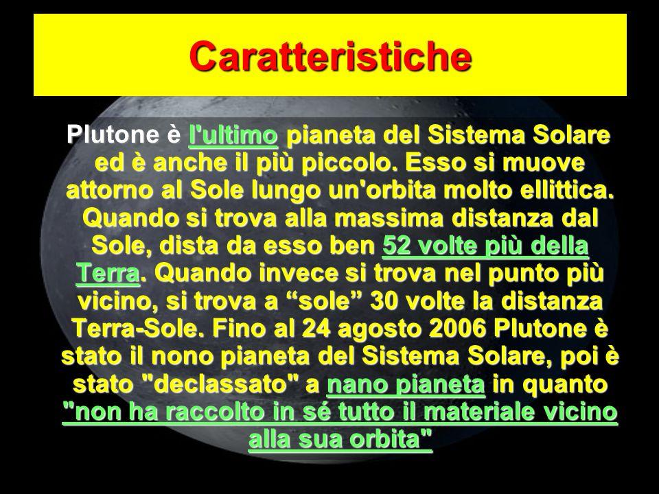 Plutone è l'ultimo pianeta del Sistema Solare ed è anche il più piccolo. Esso si muove attorno al Sole lungo un'orbita molto ellittica. Quando si trov