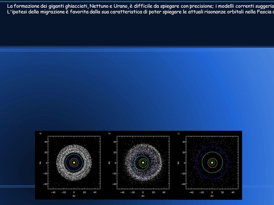 La formazione dei giganti ghiacciati, Nettuno e Urano, è difficile da spiegare con precisione; i modelli correnti suggeriscono che la densità di mater