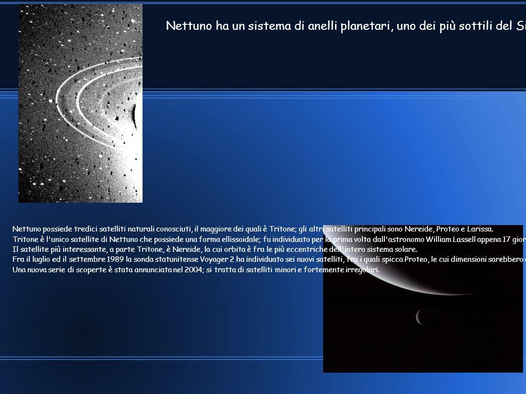 Nettuno ha un sistema di anelli planetari, uno dei più sottili del Sistema solare; gli anelli potrebbero consistere di particelle legate con silicati