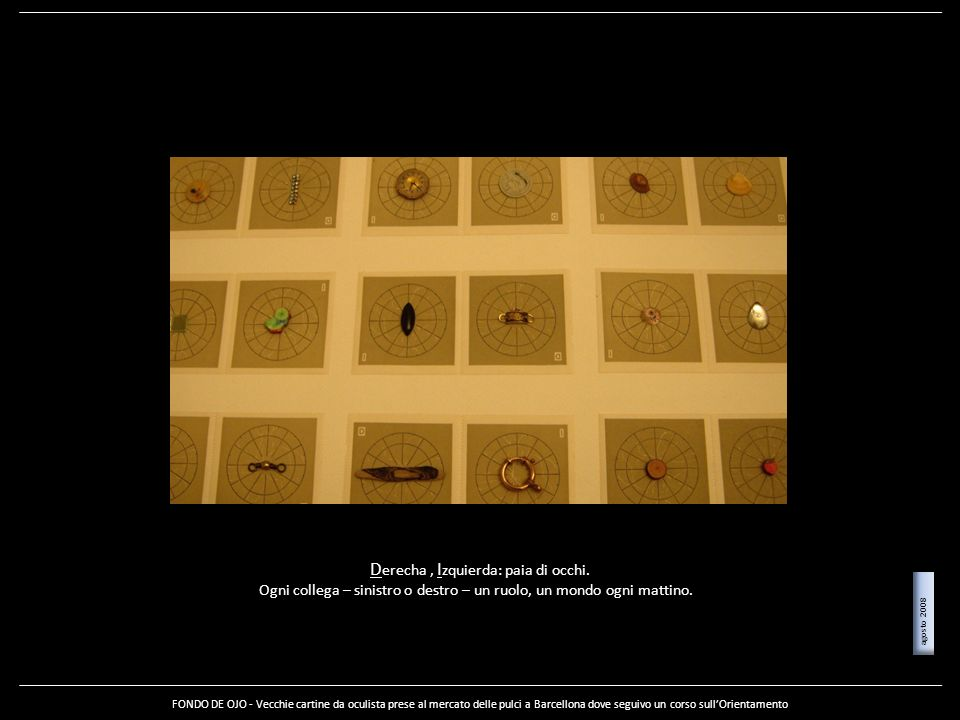 D erecha, I zquierda: paia di occhi. Ogni collega – sinistro o destro – un ruolo, un mondo ogni mattino. FONDO DE OJO - Vecchie cartine da oculista pr