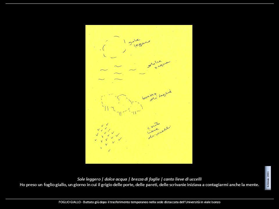 Sole leggero | dolce acqua | brezza di foglie | canto lieve di uccelli Ho preso un foglio giallo, un giorno in cui il grigio delle porte, delle pareti