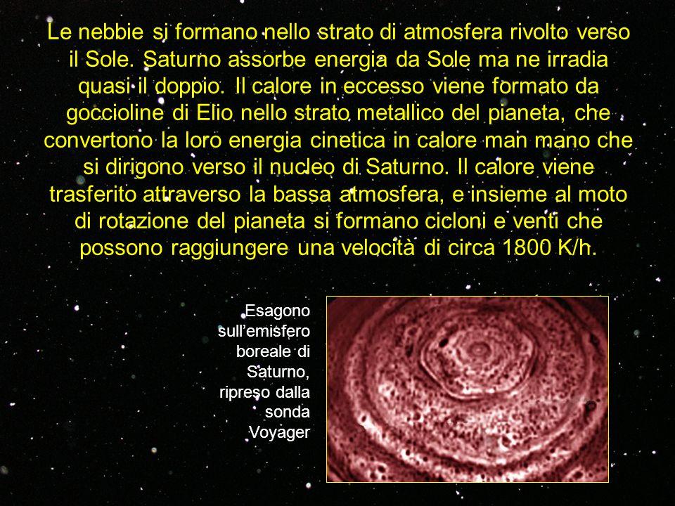 Le nebbie si formano nello strato di atmosfera rivolto verso il Sole. Saturno assorbe energia da Sole ma ne irradia quasi il doppio. Il calore in ecce
