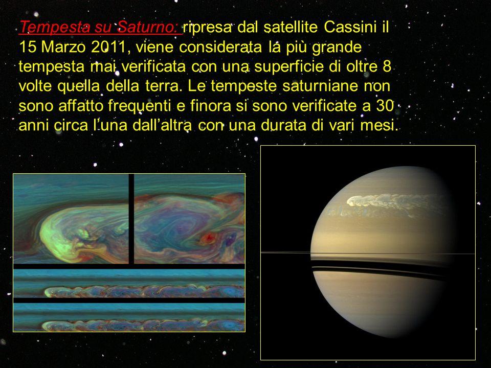 Tempesta su Saturno: ripresa dal satellite Cassini il 15 Marzo 2011, viene considerata la più grande tempesta mai verificata con una superficie di olt