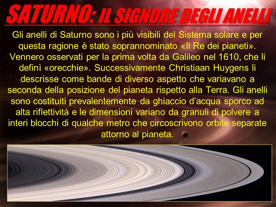 SATURNO: IL SIGNORE DEGLI ANELLI Gli anelli di Saturno sono i più visibili del Sistema solare e per questa ragione è stato soprannominato «Il Re dei p