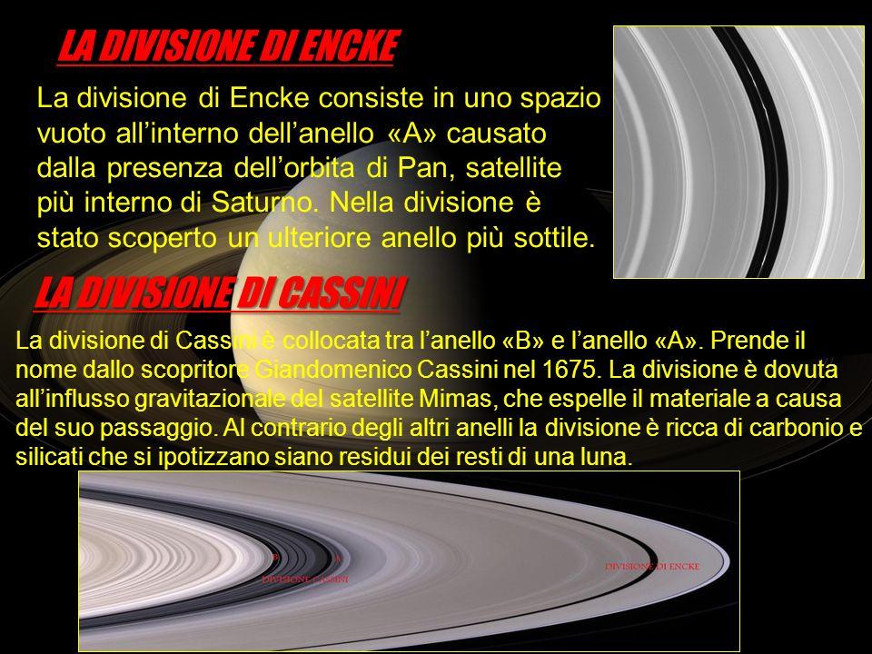 La divisione di Encke consiste in uno spazio vuoto allinterno dellanello «A» causato dalla presenza dellorbita di Pan, satellite più interno di Saturn