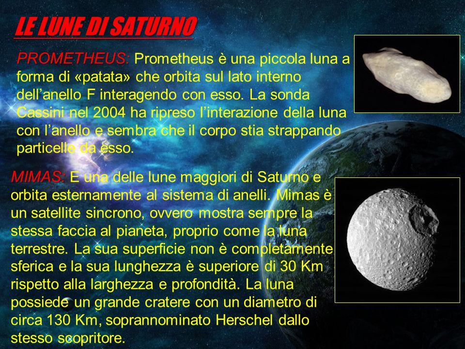 LE LUNE DI SATURNO PROMETHEUS: PROMETHEUS: Prometheus è una piccola luna a forma di «patata» che orbita sul lato interno dellanello F interagendo con