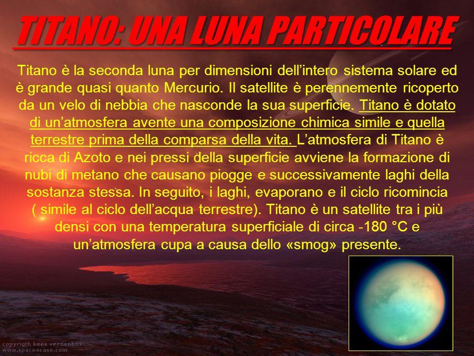 TITANO: UNA LUNA PARTICOLARE Titano è la seconda luna per dimensioni dellintero sistema solare ed è grande quasi quanto Mercurio. Il satellite è peren