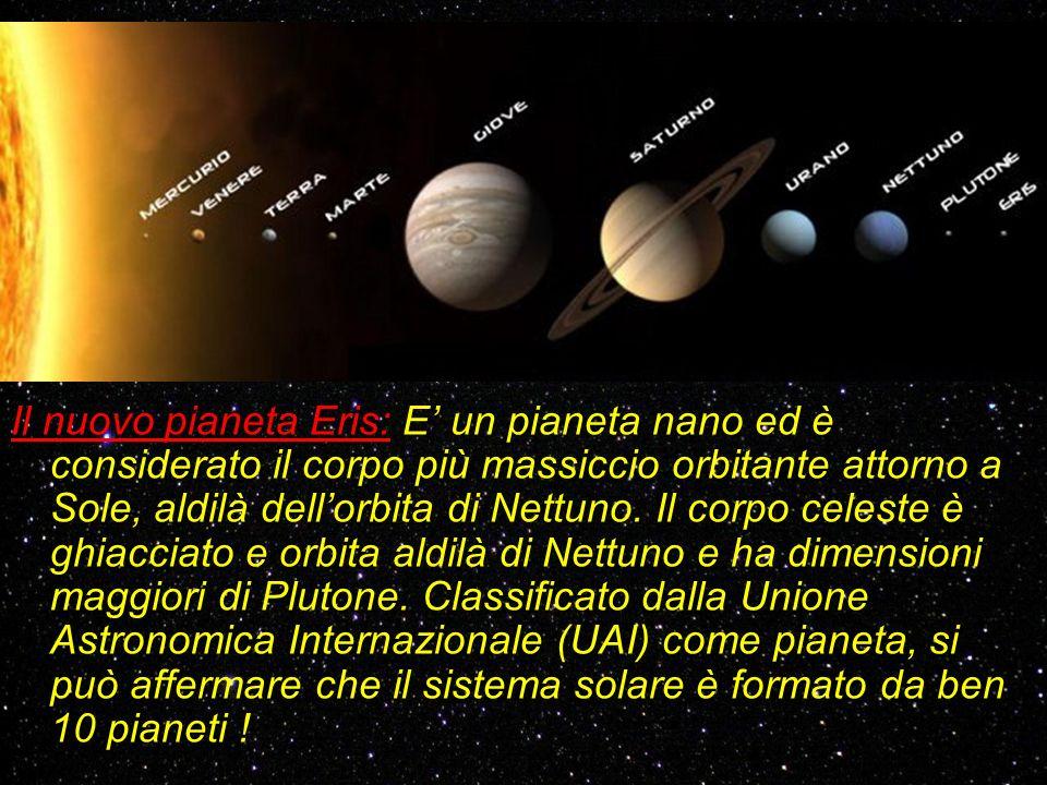 Il nuovo pianeta Eris: E un pianeta nano ed è considerato il corpo più massiccio orbitante attorno a Sole, aldilà dellorbita di Nettuno. Il corpo cele