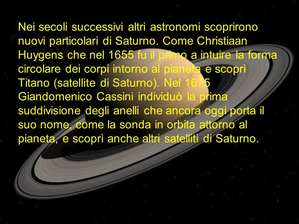 Nei secoli successivi altri astronomi scoprirono nuovi particolari di Saturno. Come Christiaan Huygens che nel 1655 fu il primo a intuire la forma cir