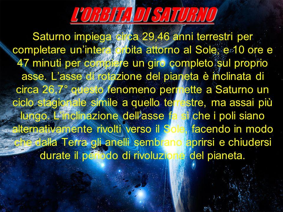 LORBITA DI SATURNO Saturno impiega circa 29,46 anni terrestri per completare unintera orbita attorno al Sole, e 10 ore e 47 minuti per compiere un gir