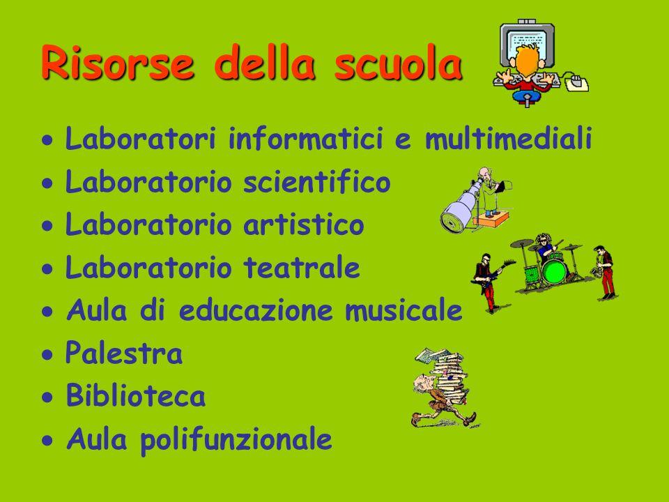 Risorse della scuola Laboratori informatici e multimediali Laboratorio scientifico Laboratorio artistico Laboratorio teatrale Aula di educazione music
