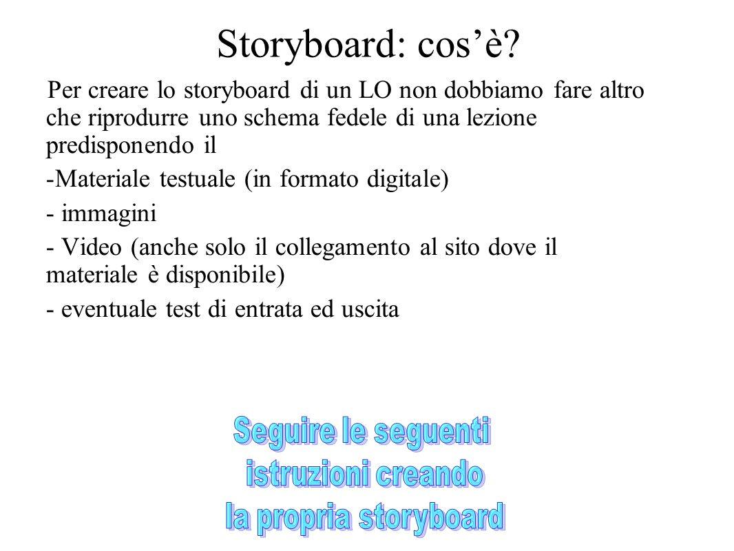 Per creare lo storyboard di un LO non dobbiamo fare altro che riprodurre uno schema fedele di una lezione predisponendo il -Materiale testuale (in for