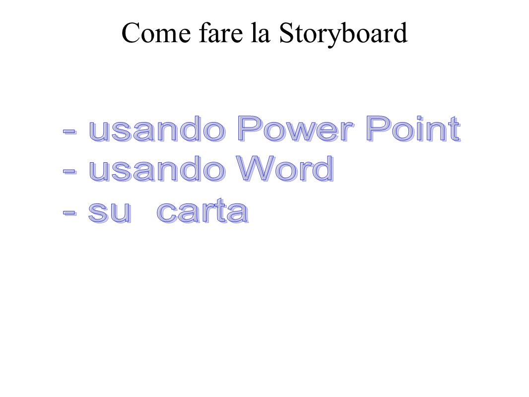 Condividiamola E possibile condividere la storyboard su Google document in modo da apportare correzioni e miglioramenti.