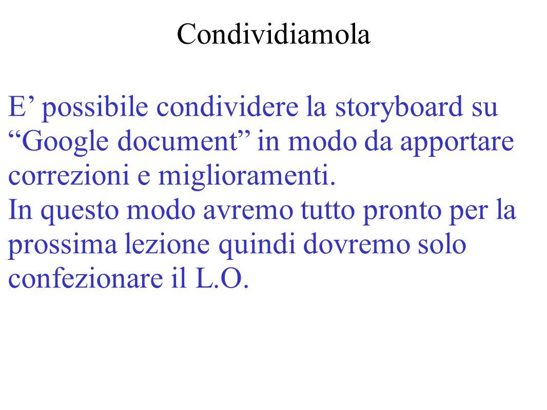 Condividiamola E possibile condividere la storyboard su Google document in modo da apportare correzioni e miglioramenti. In questo modo avremo tutto p