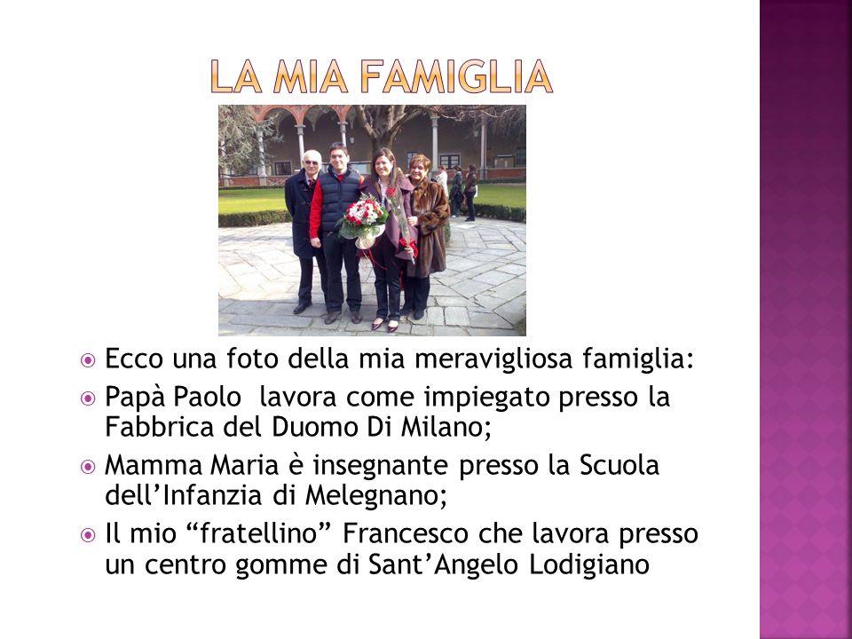 Ecco una foto della mia meravigliosa famiglia: Papà Paolo lavora come impiegato presso la Fabbrica del Duomo Di Milano; Mamma Maria è insegnante presso la Scuola dellInfanzia di Melegnano; Il mio fratellino Francesco che lavora presso un centro gomme di SantAngelo Lodigiano