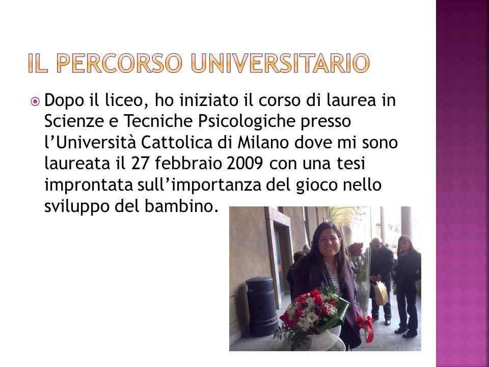 Dopo la laurea, ho iniziato ad effettuare supplenze presso scuole dellinfanzia e primarie del Sud Milano.