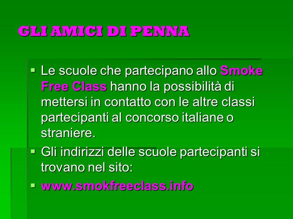 GLI AMICI DI PENNA Le scuole che partecipano allo Smoke Free Class hanno la possibilità di mettersi in contatto con le altre classi partecipanti al concorso italiane o straniere.