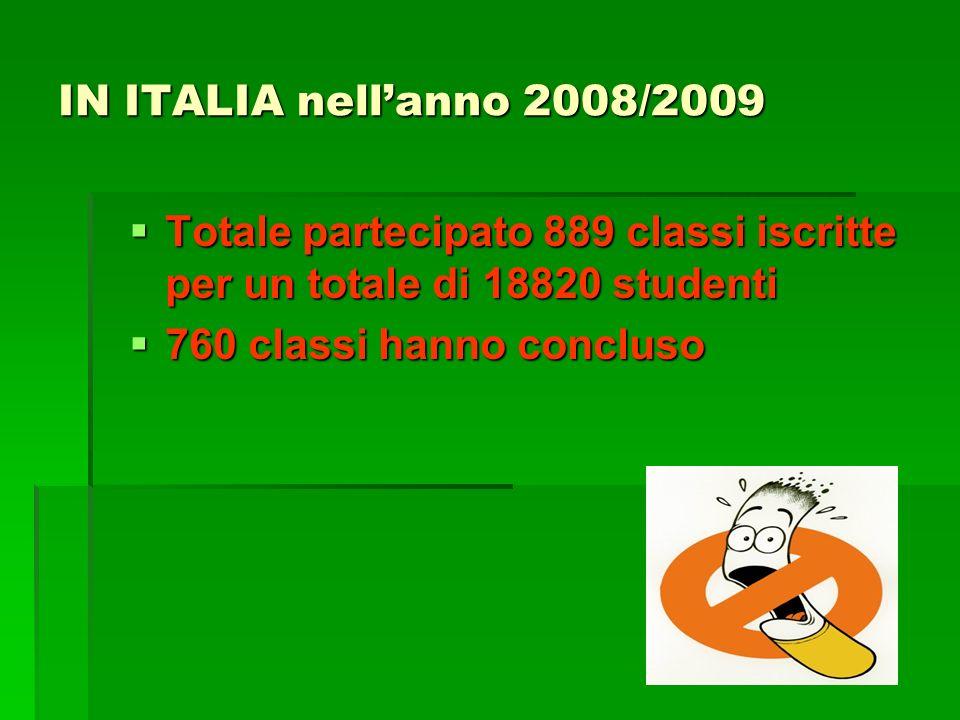 IN ITALIA nellanno 2008/2009 Totale partecipato 889 classi iscritte per un totale di 18820 studenti Totale partecipato 889 classi iscritte per un totale di 18820 studenti 760 classi hanno concluso 760 classi hanno concluso