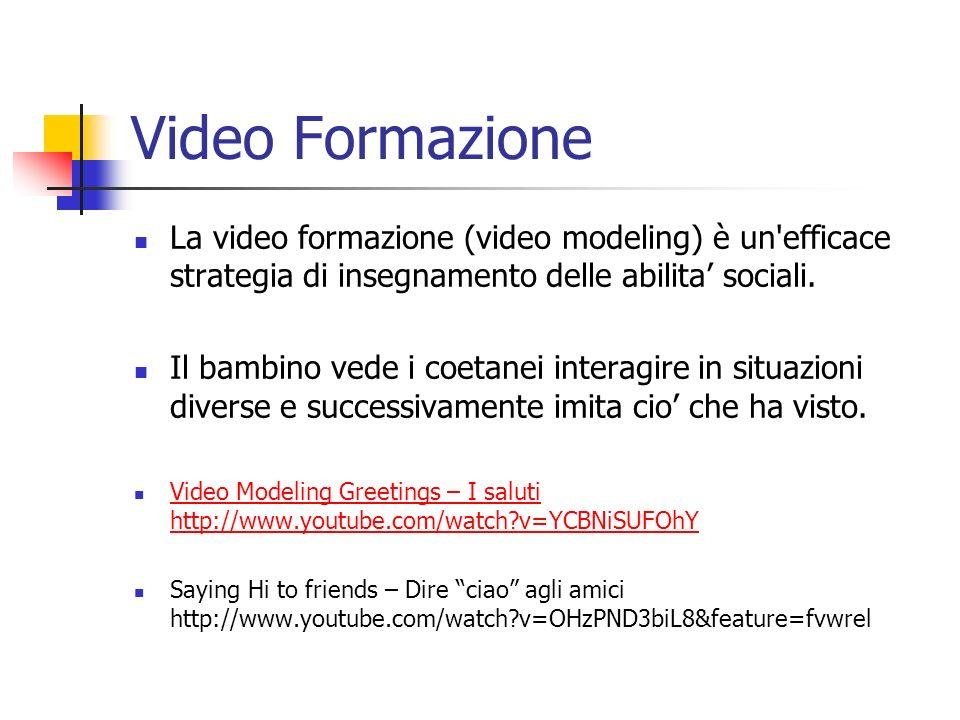 Video Formazione La video formazione (video modeling) è un'efficace strategia di insegnamento delle abilita sociali. Il bambino vede i coetanei intera