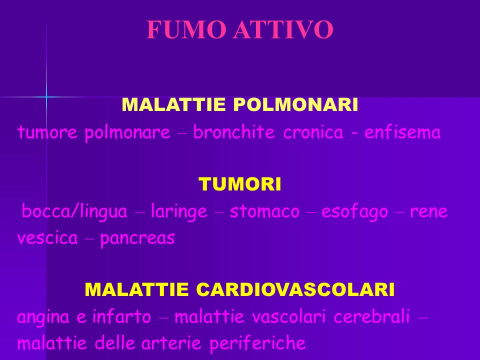 FUMO ATTIVO MALATTIE POLMONARI tumore polmonare – bronchite cronica - enfisema TUMORI bocca/lingua – laringe – stomaco – esofago – rene vescica – pancreas MALATTIE CARDIOVASCOLARI angina e infarto – malattie vascolari cerebrali – malattie delle arterie periferiche
