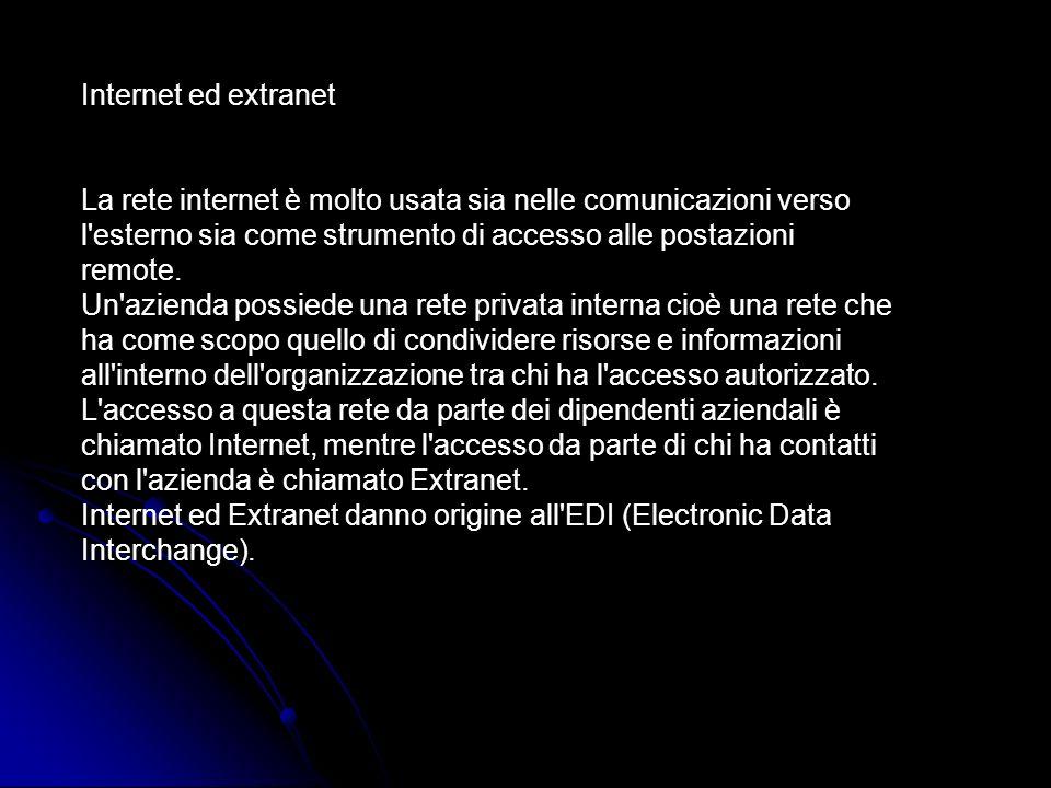 Internet ed extranet La rete internet è molto usata sia nelle comunicazioni verso l'esterno sia come strumento di accesso alle postazioni remote. Un'a