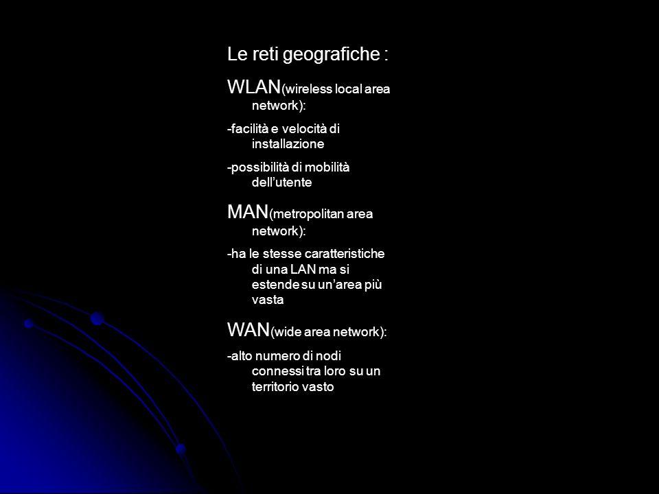 Le reti geografiche : WLAN (wireless local area network): -facilità e velocità di installazione -possibilità di mobilità dellutente MAN (metropolitan