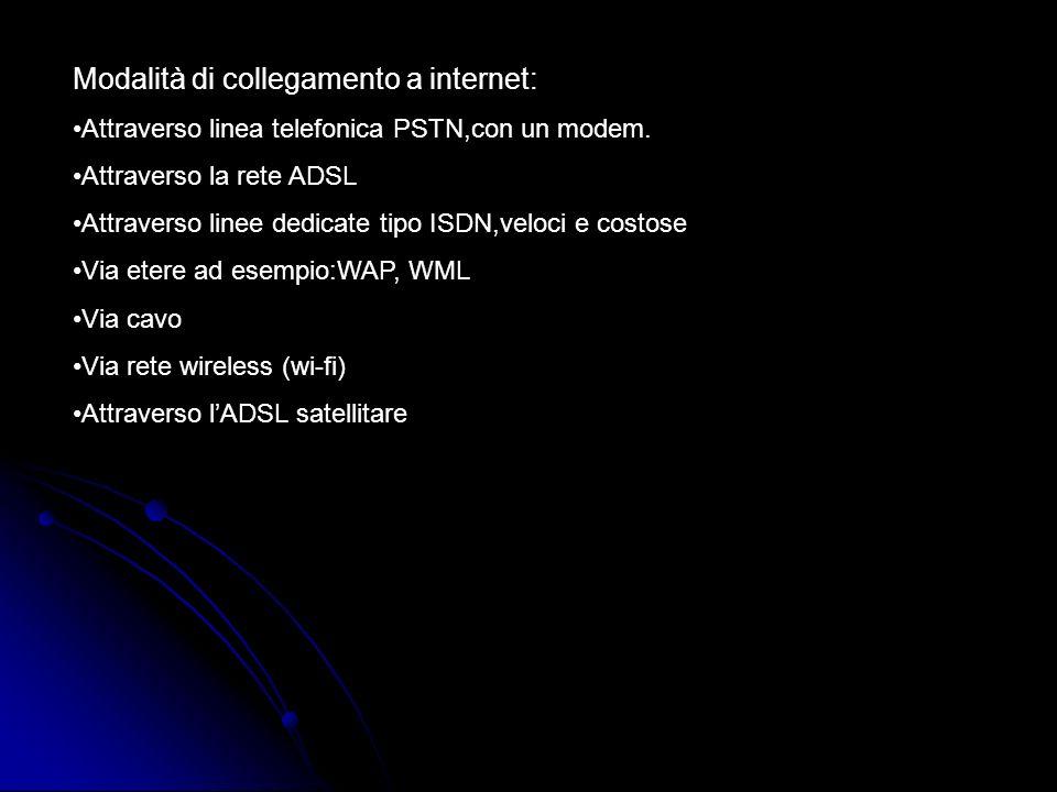 Modalità di collegamento a internet: Attraverso linea telefonica PSTN,con un modem. Attraverso la rete ADSL Attraverso linee dedicate tipo ISDN,veloci