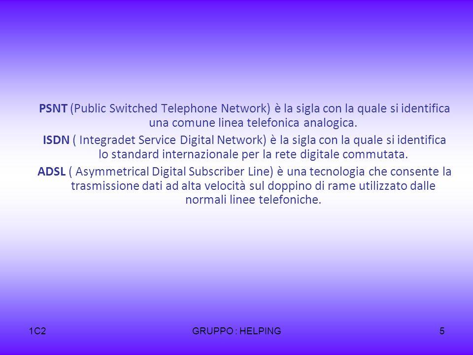 1C2GRUPPO : HELPING5 PSNT (Public Switched Telephone Network) è la sigla con la quale si identifica una comune linea telefonica analogica. ISDN ( Inte