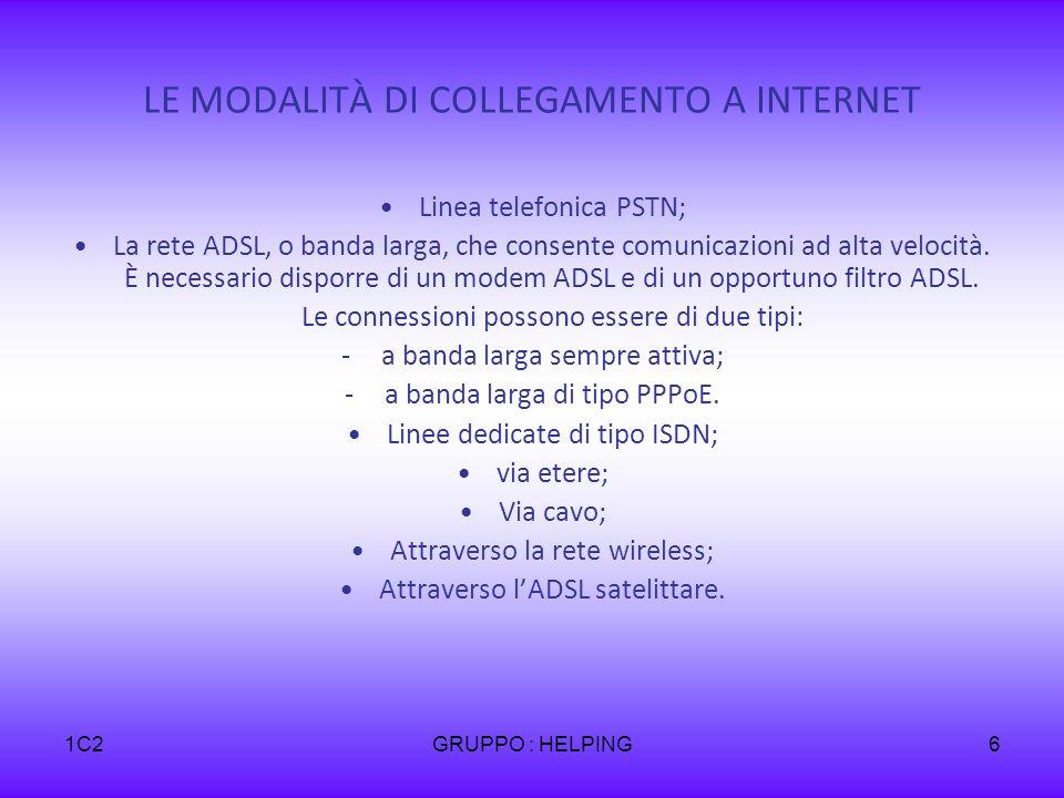 1C2GRUPPO : HELPING6 LE MODALITÀ DI COLLEGAMENTO A INTERNET Linea telefonica PSTN; La rete ADSL, o banda larga, che consente comunicazioni ad alta vel